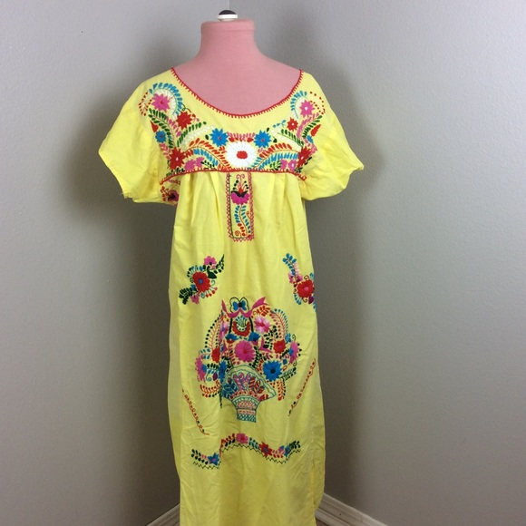 38b7933b29 AUTHENTIC VINTAGE Dresses   Skirts - VINTAGE EMBROIDERED MEXICAN MAXI DRESS  CHIC FLORAL